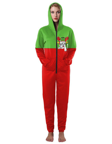 Casual Christmas Dog Within Reindeer Antlers Green Red Hooded Jumpsuit