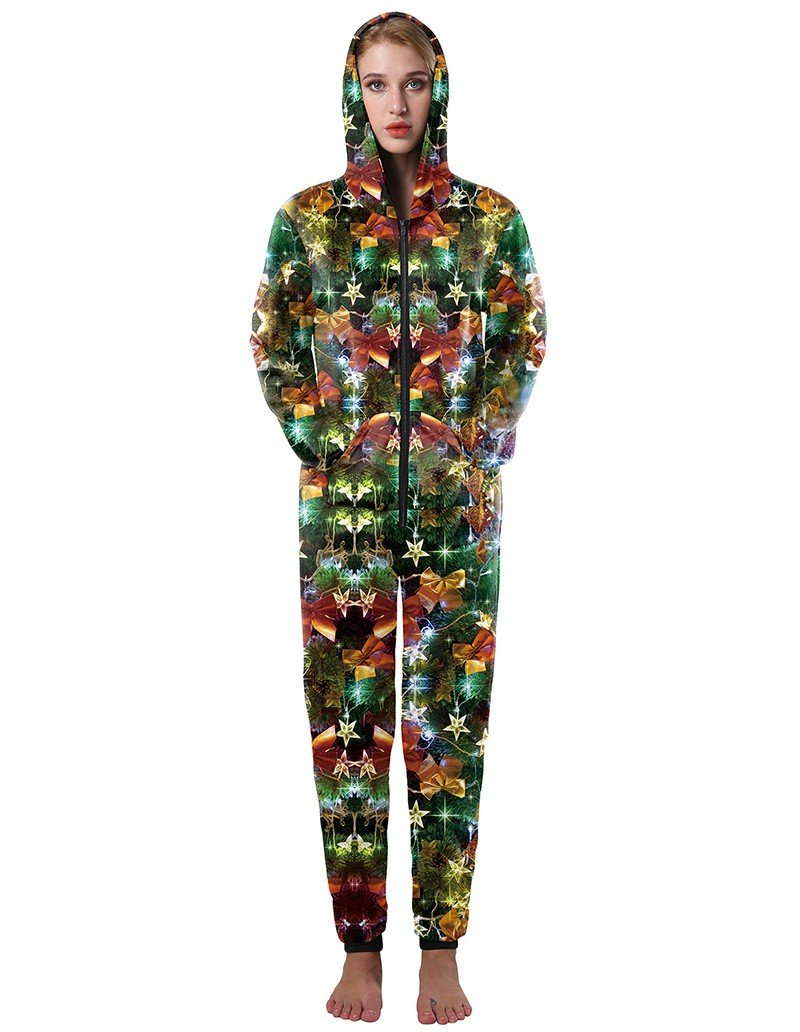 Casual Shiny Christmas Tree With Ribbon Print Loose Hooded Jumpsuit