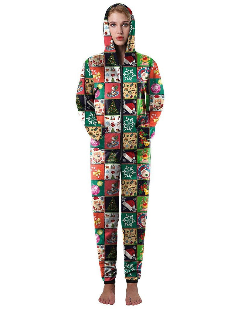 Christmas Correlative Checkered Pattern Print Loose Hooded Jumpsuit