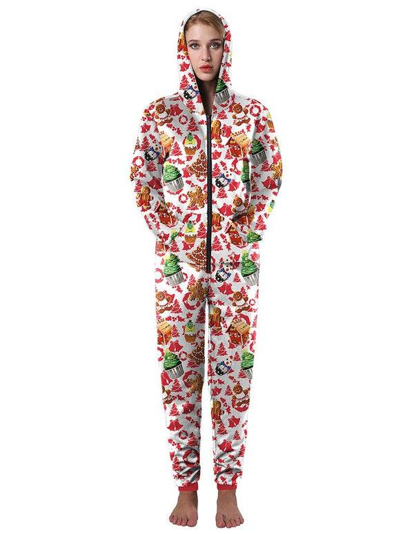 Christmas Tree Cupcake Gingerbread Man Print Loose Hooded Jumpsuit