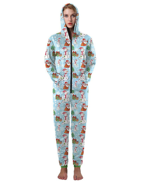 Christmas Gifts And Frosty The Snowman Print Casual Hooded Jumpsuit