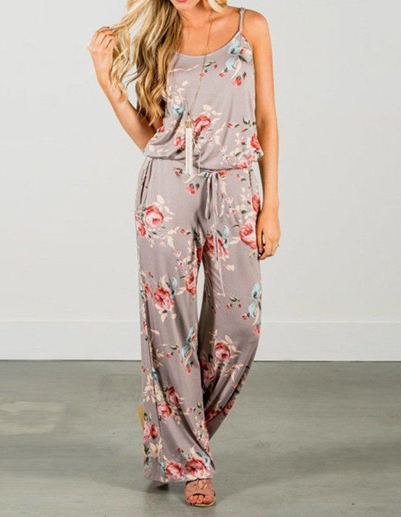 Casual Floral Print Waist Tie Loose Fit Summer Cami Jumpsuit
