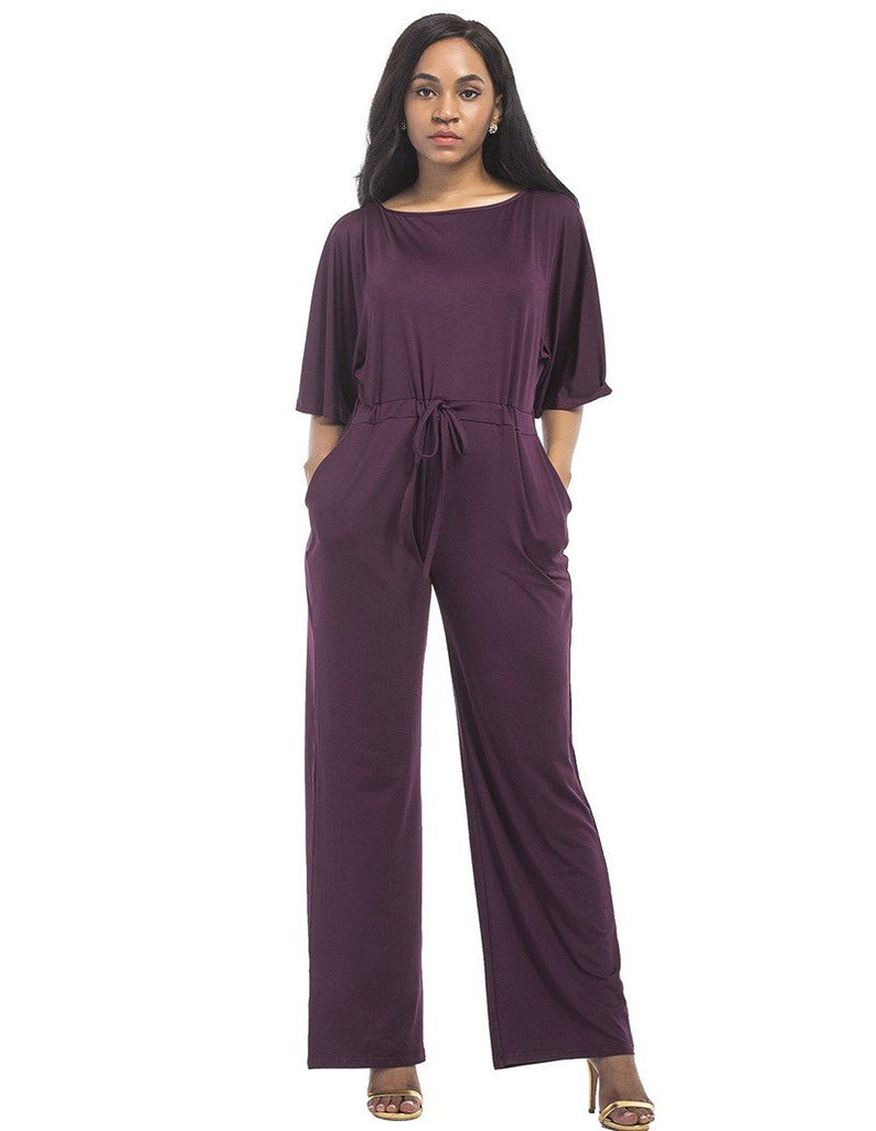 Loose Casual Flounced Sleeve Boat Neck Waist Tie Stylish Jumpsuit