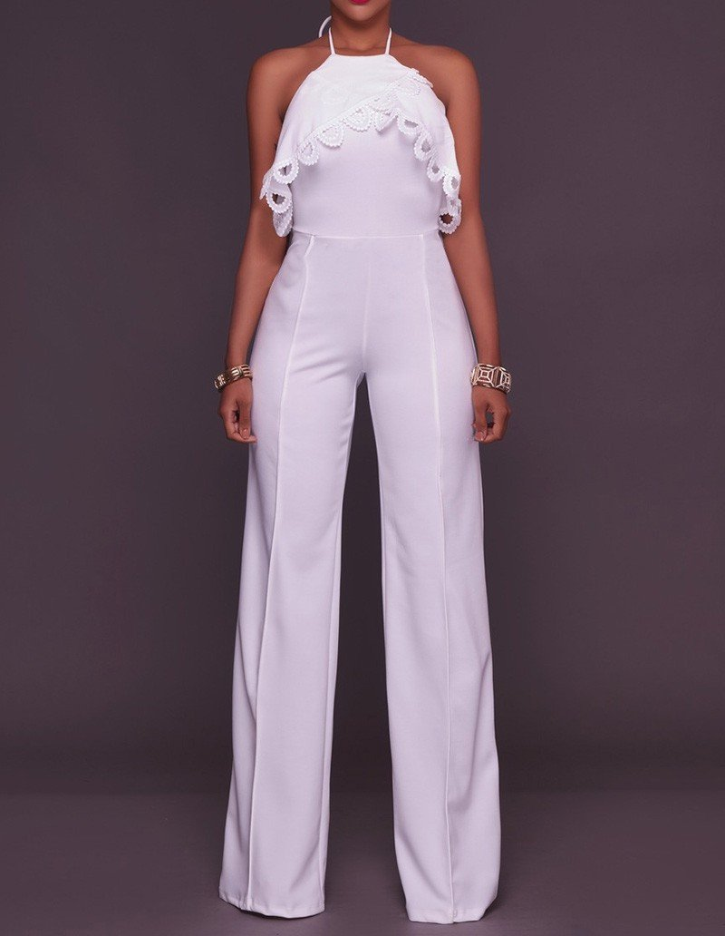 White Halter Crochet Frill Trim Backless Party Going Out Jumpsuit