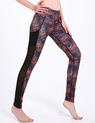Orange Crushed Graffiti Mesh Pocket Dri-Fit Gym Running Leggings