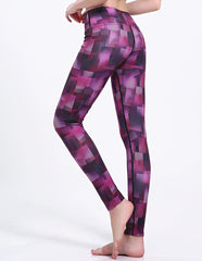 Purple Irregular Blocks Print Mesh Pocket Dri-Fit Gym Running Leggings