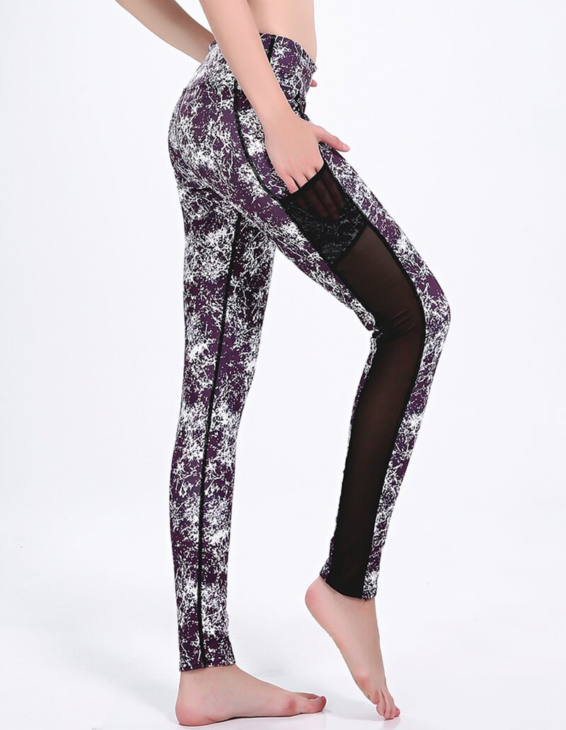 Granite Texture Print Mesh Insert Pocket Dri-Fit Gym Running Leggings