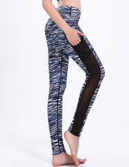 Grey Ink Stripe Print Mesh Insert Pocket Dri-Fit Gym Running Leggings