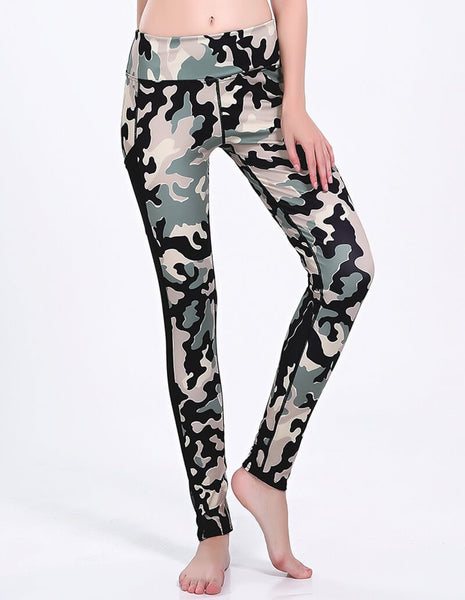 Camo Print Mesh Insert Dri-Fit Gym Running Leggings With Pocket