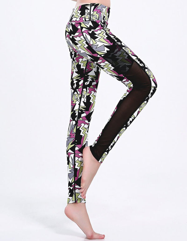 Colorful Geometric Print Mesh Dri-Fit Gym Running Leggings With Pocket