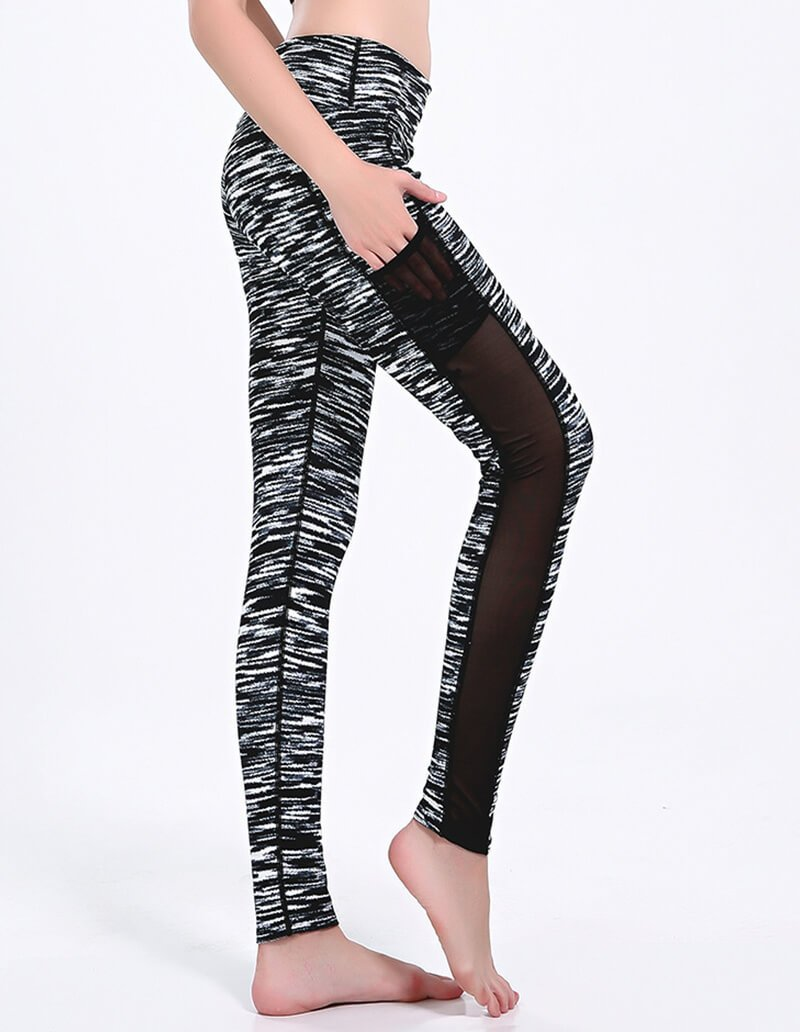 Black Ink Stripe Mesh Insert Dri-Fit Gym Running Leggings With Pocket