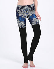 Swirl Paisley Print And Black Tight Matched Gym Racer Stirrup Leggings