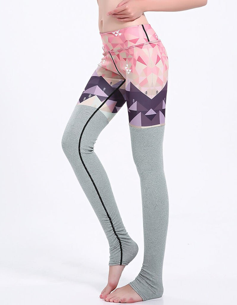 Eagle In Triangles Sky Grey Tights Matched Ruched Gym Stirrup Leggings