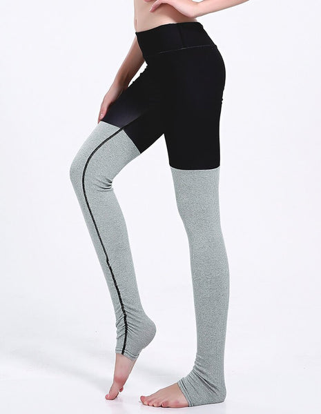 Black Grey Tights Matched Ruched Gym Running Yoga Stirrup Leggings