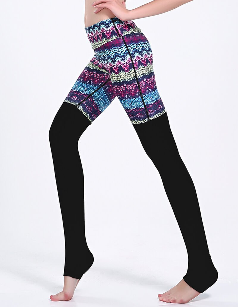 Colorful Waves Print Black Tights Matched Gym Yoga Stirrup Leggings