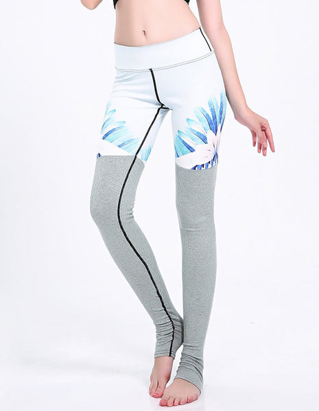 White Easter Lily Print Grey Tights Matched Yoga Gym Stirrup Leggings