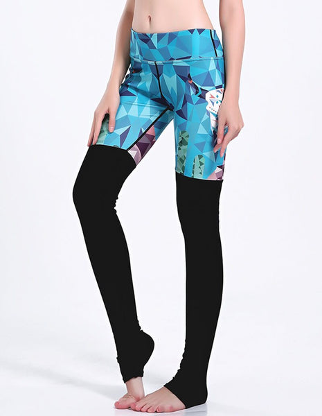Green Palm Print Black Tights Matched Active Gym Yoga Stirrup Leggings