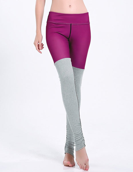 Fuchsia Grey Tights Contrast Wide Waistband Gym Yoga Stirrup Leggings