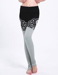 Abstract Floral Print Grey Tights Contrast Gym Yoga Stirrup Leggings