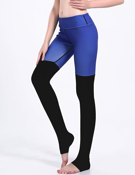 Blue Black Tight Contrast Panel Two-Tone Workout Yoga Stirrup Leggings