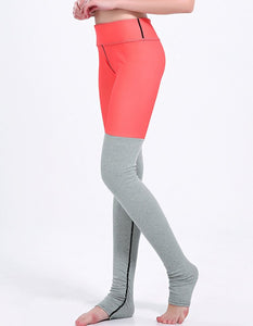 Orange Grey Contrast Tights Two-Tone Workout Yoga Stirrup Leggings