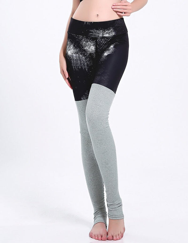 Black Grey Contrast Tights Two-Tone Workout Yoga Stirrup Leggings