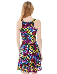 Colorful Wet Look Mermaid Fish Scale Printed Vest Skater Dress