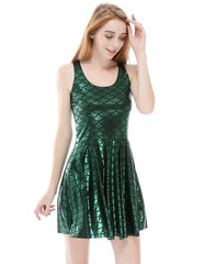 Green Glossy Mermaid Fish Scale Printed Sleeveless Skater Dress