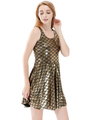 Glossy Gold Mermaid Fish Scale Printed Vest Skater Dress