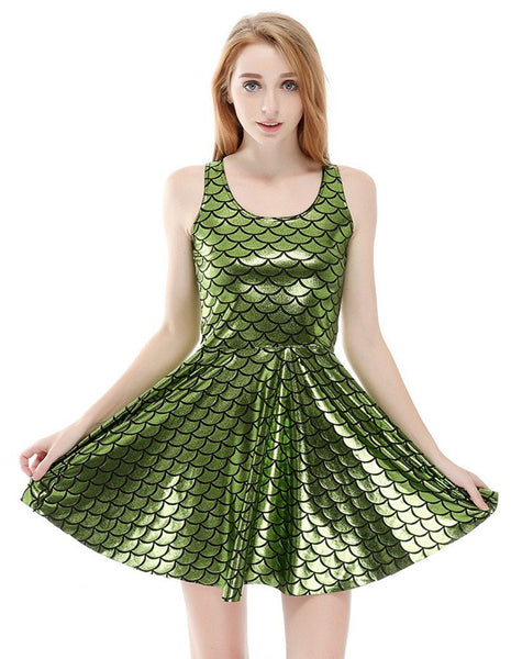 Green Glossy Shiny Mermaid Fish Scale Print Vest Skater Dress