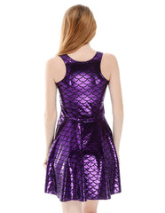 Glossy Purple Mermaid Fish Scale Print Sleeveless Skater Dress