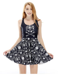 Black Floral Skull Printed Summer Casual Skater Dress