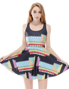 Unique Periodic Table Print Vest Skater Dress