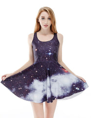 Black Navy Nebulae Galaxy Printed Vest Skater Dress