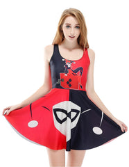 Harley Quinn Short Sleeveless Skater Dress