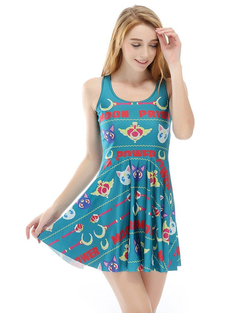 Pretty Guardian Sailor Moon Sets Game Printed Skater Dress