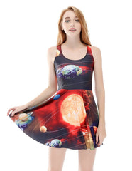 Nine Planets Prints Sleeveless Summer Skater Dress