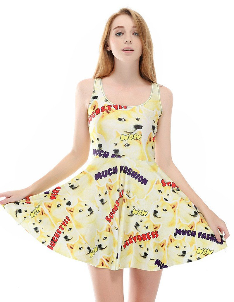 Cute Stylish Unique Wolf Prints Summer Skater Dress
