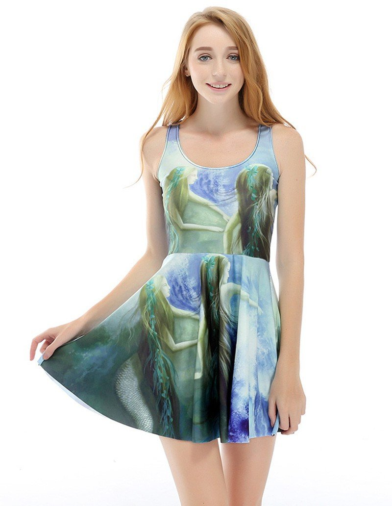 Long Hair Mermaid Printed Summer Skater Dress