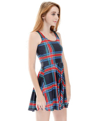 Simple Plaid Stripe Summer Vest Skater Dress