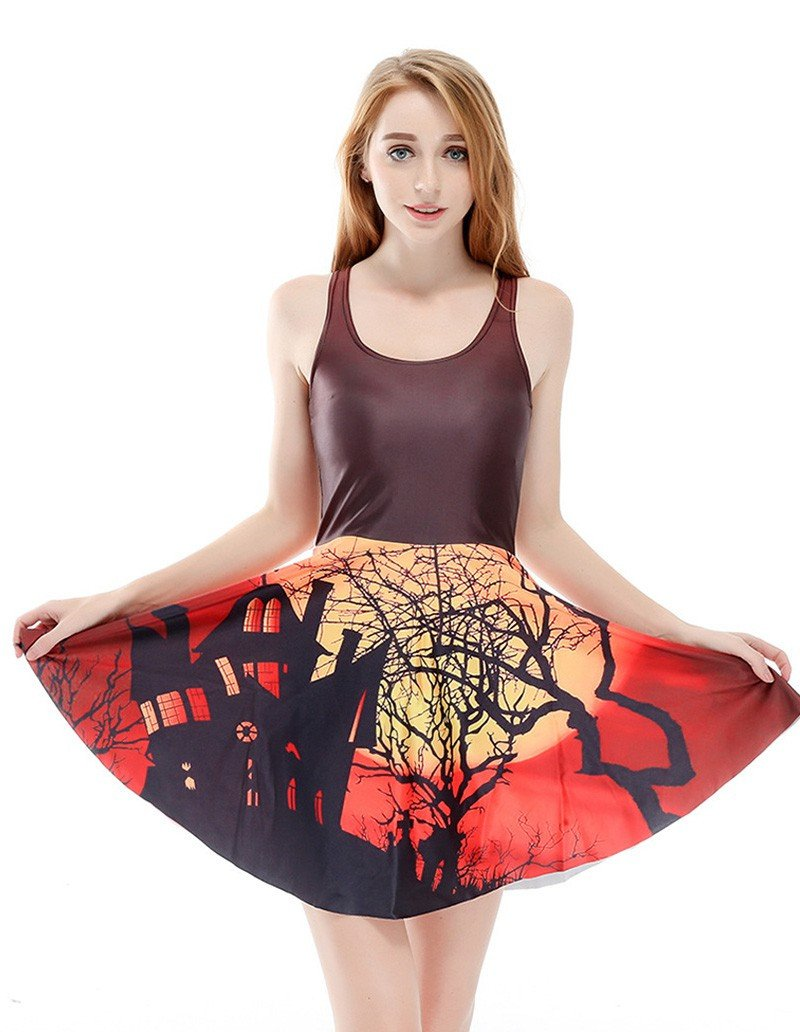 Halloween House Printed Sleeveless Skater Dress