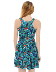 Holly Berries And Leaves Print Green Skater Dress