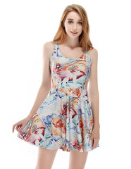 Monster At Home Printed Vest Skater Dress