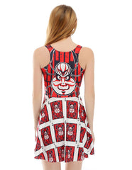 Tribal Totem Image Print Sleeveless Summer Short Skater Dress