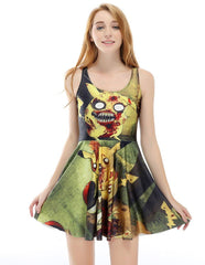 Scary Zombie Pikachu Printed Vest Skater Dress