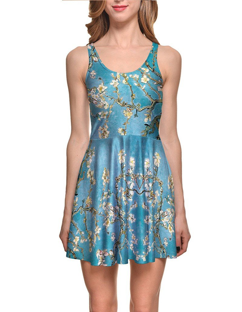 Plum Blossom Blue Summer Short Skater Dress