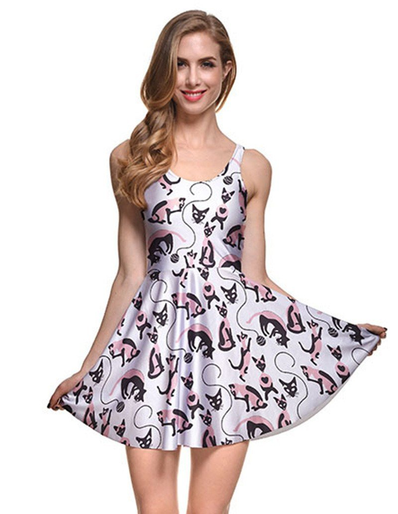 Pretty Small Fox Prints Summer Short Skater Dress