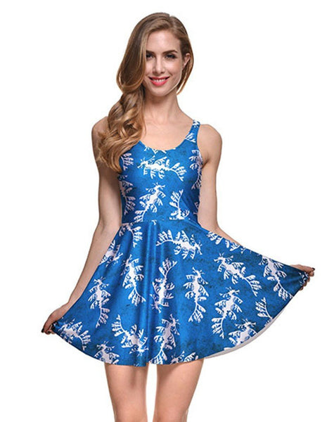 Abstract Phoenix Prints Summer Short Vest Skater Dress