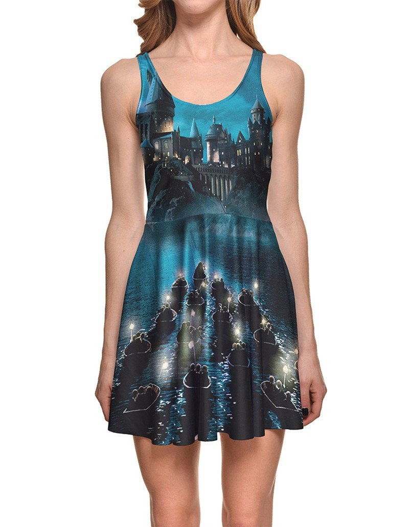 World Of Harry Potter Puzzle Print Short Vest Skater Dress