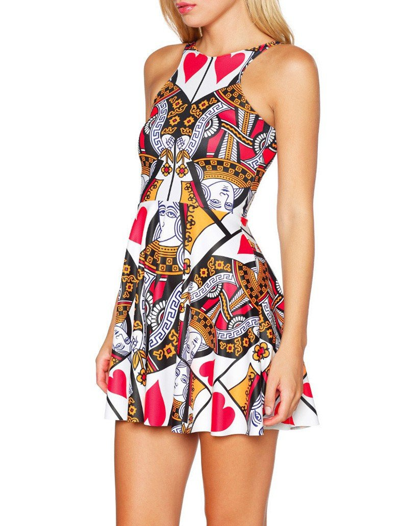Poker Red Queen Of Hearts Print Sleeveless Short Skater Dress